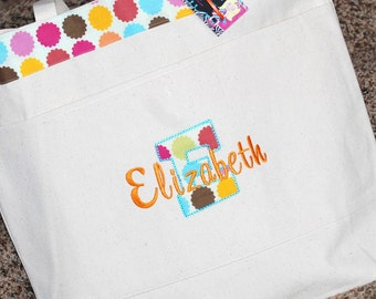 Personalized extra large canvas tote bag beach bag overnight bag bridesmaids bag or flower girl bags