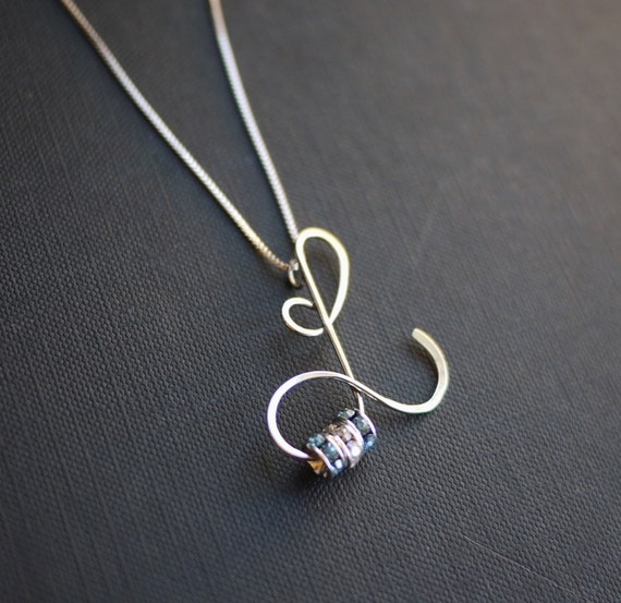 items similar to letter l initial necklace with birthstone crystals by i heart this on etsy