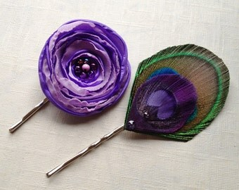 Lilac Purple Flower and Peacock Feather Pin Set - Made to Order