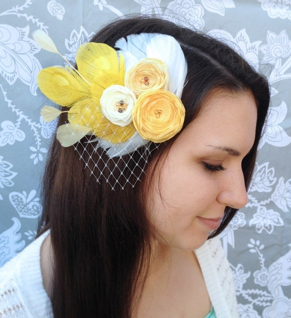 Yellow Feather and Flower Hair Clip - Made to order
