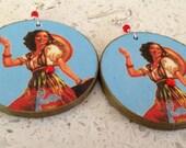 Mexican Calendar Girl Decoupage Earrings - Lg
