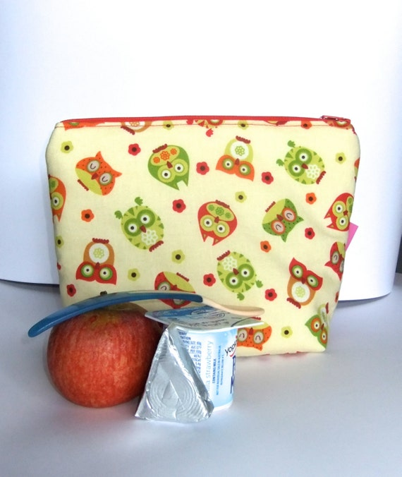 Insulated Lunch Bag Little - Zip Eco Friendly Hoot Owls by BonTonsGifts on Etsy
