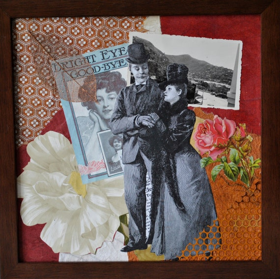 Collage Art Nostalgic Lovers Romantic Art Office Decor Home Decor Wall Art Handmade Victorian Style :  Strolling Along the Avenue