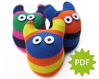 Make your own Mini Sock Monster, PDF instructions