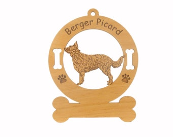 1706 Berger Picard Dog Standing Personalized Wood Ornament