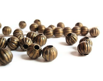 50 Beads, 6 mm, Bead Supply, Beautiful 6mm Round Antiqued Bronze Color Corrugated Iron, nickel free
