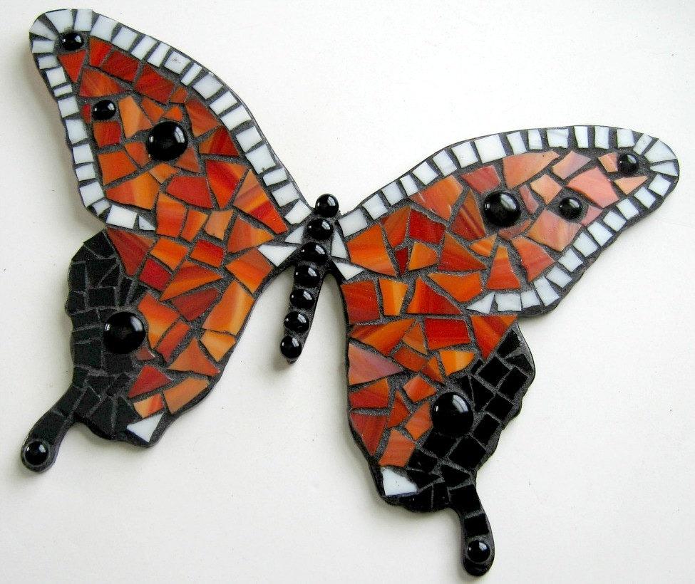 Mosaic Butterfly Mixed Media Wall Decor Red Orange Mosaic - photo#49