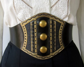 Darling Brass Studded  Tooled Black Leather Wide Corset Laced Belt