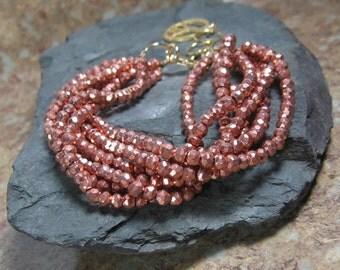 Rose Gold Pyrite Layering Bracelet