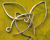 Sterling Silver Ear Wires  Hammered Handmade Medium Length: 2 pair