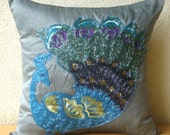 Decorative Throw Pillow Covers Accent Pillows Couch Pillows 16x16 Silk Pillow Cover Beads Sequins Embroidered Dancing Peacock Home Living
