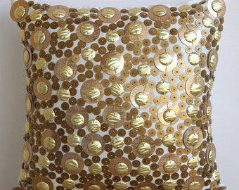 "Handmade Gold Pillow Cases, 16""x16"" Silk Throw Pillows Cover, Square  3D Gold Sequins Glitter Pillows Cover - Gold Disco Balls"