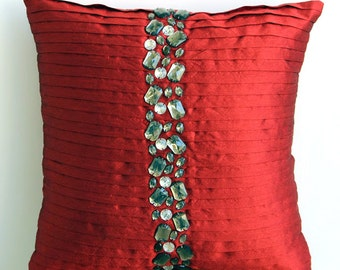"Designer Red Pillow Covers, 16""x16"" Silk Pillows Covers For Couch, Square  Pintucks & Crystals Pillows Cover - Deep Red Crystals"