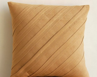 """Designer Textured Pintucks Solid Color Pillowcases, Tan Pillows Cover Faux Suede Pillows Covers For Couch, Square 20""""x20"""" - Contemporary Tan"""