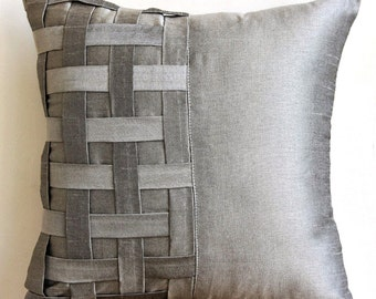"Designer Silver Grey Pillow Covers, 16""x16"" Silk Pillowcase, Square  Basket Weave & Pintucks Pillows Cover - Grey Silver Bricks"