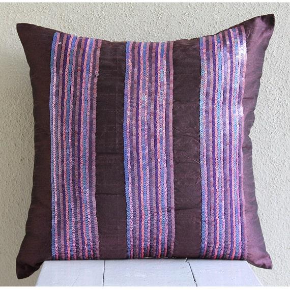 Throw Pillows Printing : Handmade Plum Throw Pillows Cover 16x16 Silk