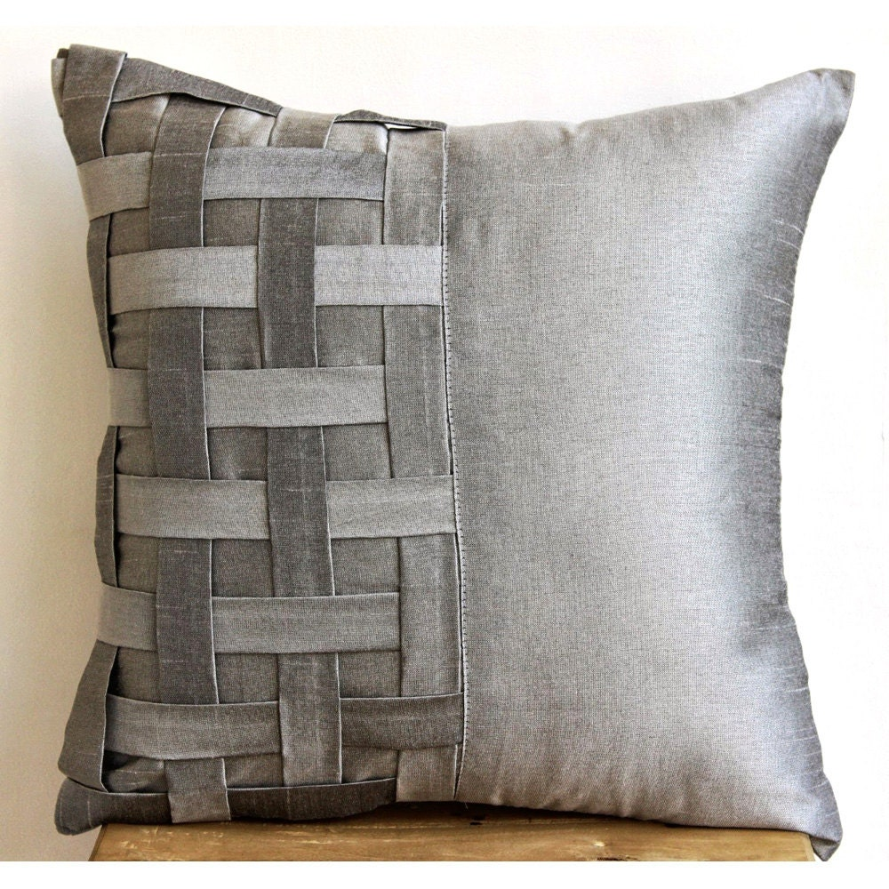 designer silver grey pillow covers x silk - 🔎zoom