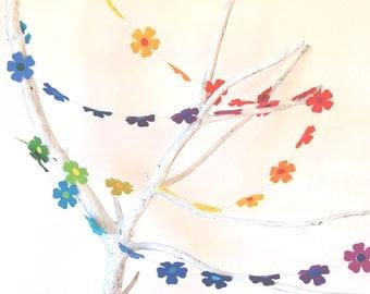 Rainbow Flower Power - A Colorful Felt Decorative Garland