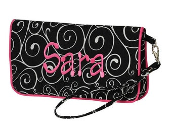 Swirl Wristlet Black & White Hot Pink Trim includes monogram Personalized Clutch
