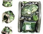 MERZIEs oxidized antique silver peridot green crystals European Charm spacer bead - SHIPs from USA