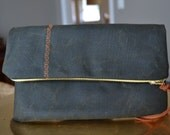 Zipper Waxed Canvas Foldover Coffee Clutch