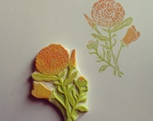 Wildflowers Rubber Stamp Hand Carved