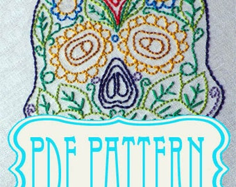 PDF Hand Embroidery Sugar Skull. Sugar Skull Hand Embroidery Pattern - Make your own - DIY- instant download