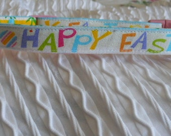 Custom Dog Collar with Happy Easter Sizes XS to XL