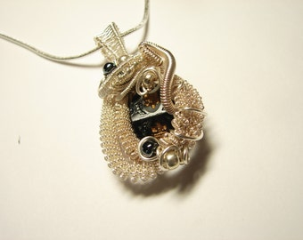 Antique Victorian Black Glass Button Pendant-Fine Silver Clad Sculpted and Woven Wire--One of a Kind