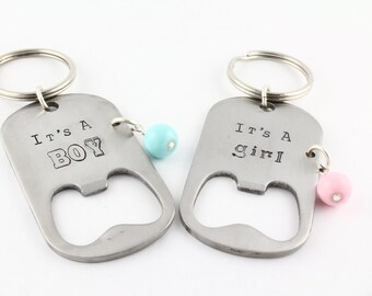 It's A Boy Keychain - It's A Girl Keychain - Bottle Opener Keychain - New Baby Gift for Man - Father's Day Gift- Custom Key Ring - Key Chain