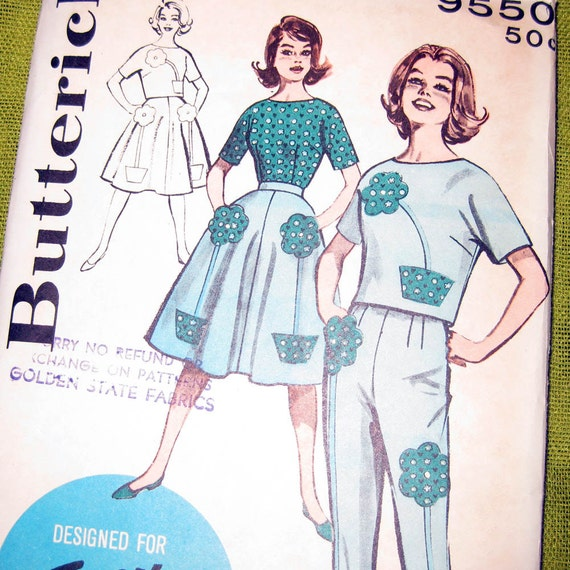 1960s Vintage Sewing Pattern Skirt Top and Cigarette Pants - Floral Applique - Butterick 9550 / Size 12 UNCUT