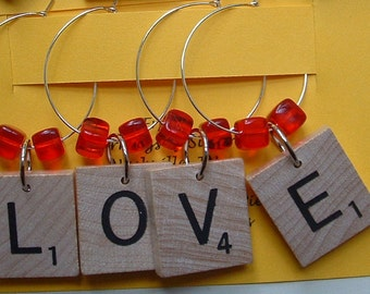 LOVE Scrabble Wine Glass Charms Markers Set of 4 with beads any color