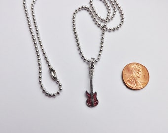 Electric Guitar Charm Necklace pink blue green purple pewter USA-made lead-free chain or leather