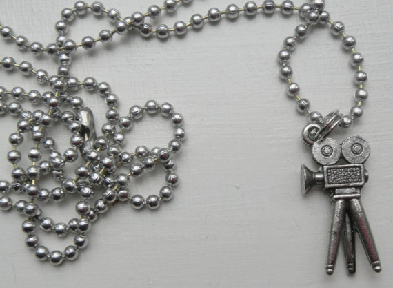 Movie Camera Charm Necklace silver pewter on leather or aluminum chain USA-made lead-free