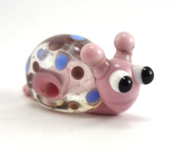 Little Pink Polka Dotted Snail Lampworked Glass Figurine Bead
