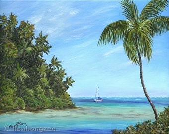 PARADISE SAIL Original Oil Painting 11x14 Art Artwork Tropical Sailing Palm Tree Sailboat South Pacific Caribbean Hawaii Ocean