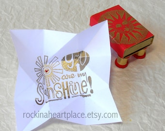 Sun Themed Matchbox with pinwheel folded message, You Are My Sunshine