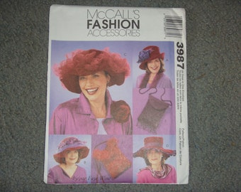 McCalls Fashion Accessories Red Hat Society Pattern 3987 NEW UNcut