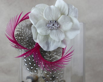 Hot Pink and White Feather Hair Fascinator
