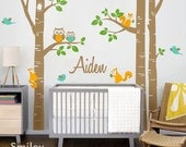 Birch Trees Nursery Wall Decal Forest Animals Kids Personalized Wall Decal Owsl Squirrels Birds Baby Room Art Decor Birch Trees Sticker