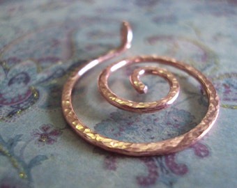 Copper Spiral Pendant, Copper Swirl Pendant, Hand Forged Copper
