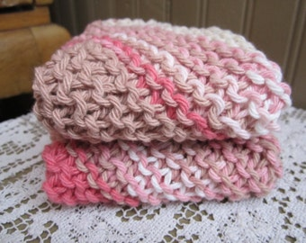 Cotton Wash Cloth Dish Cloth or Spa Cloth Hand Knit