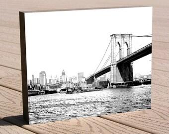 Brooklyn Bridge black and white art photo print ...8 x 10 print mounted to wood, ready hang, no framing needed, great gift