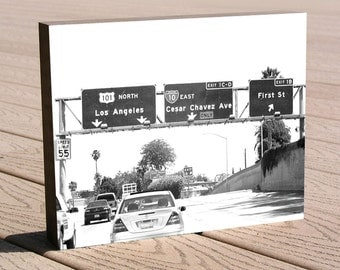 "Los Angeles freeway art photo print ...8 x 10 print mounted to a deep birch panel...""Cesar Chavez Ave."" Great Christmas or birthday gift"