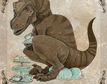 Tea Rex steamPUNk dinosaur print 5x7