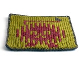 On Sale Marked Down 20% Knit and Crochet Coaster Personalized Leo Zodiac Mug Rug Olive Green Rust