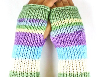 Knit Fingerless Mittens Knit Hand Warmers Knit Arm Warmers Knit Fingerless Gloves Knit Wrist Warmers Striped Knit Gloves Blue Purple Sage
