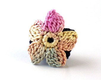 Crochet Ring Fiber Ring  Crochet Flower Applique Pink Sage Beige on a Black Band