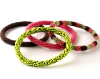 Minimal Bracelet Stacking Bangle Bracelet Spring Green Icord Rope Bracelet Boho Bracelet Gypsy Bracelet Non Metalic Bracelet