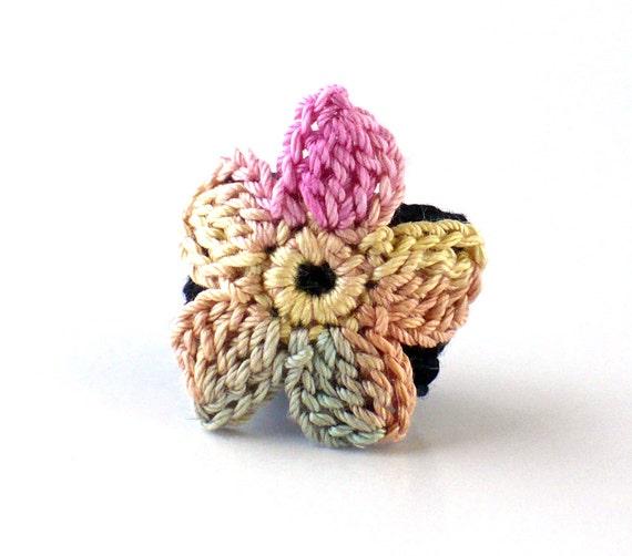 Crochet Ring Fiber Ring  Crochet Flower Applique Pink Sage Beige on a Black Band